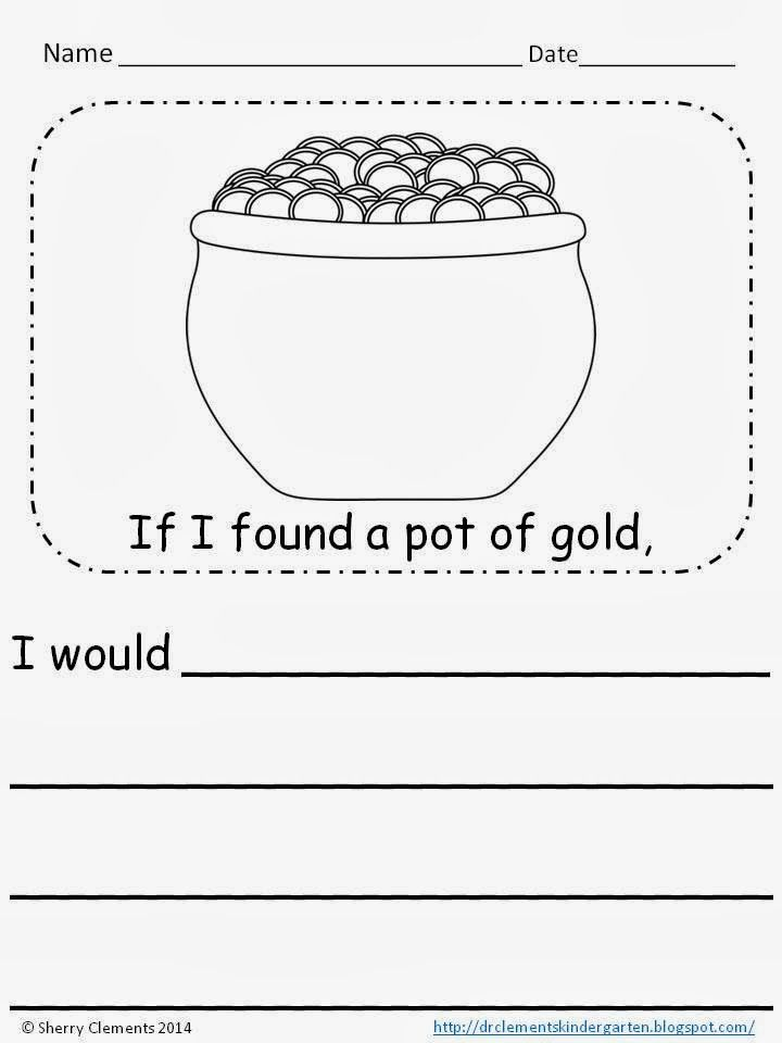 FREEBIE writingIf I found a pot of gold (kindergarten, 1st - found poster template