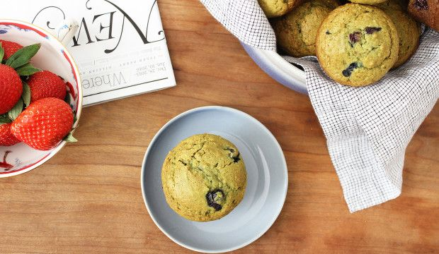 Matcha Blueberry Muffins - Get the recipe!