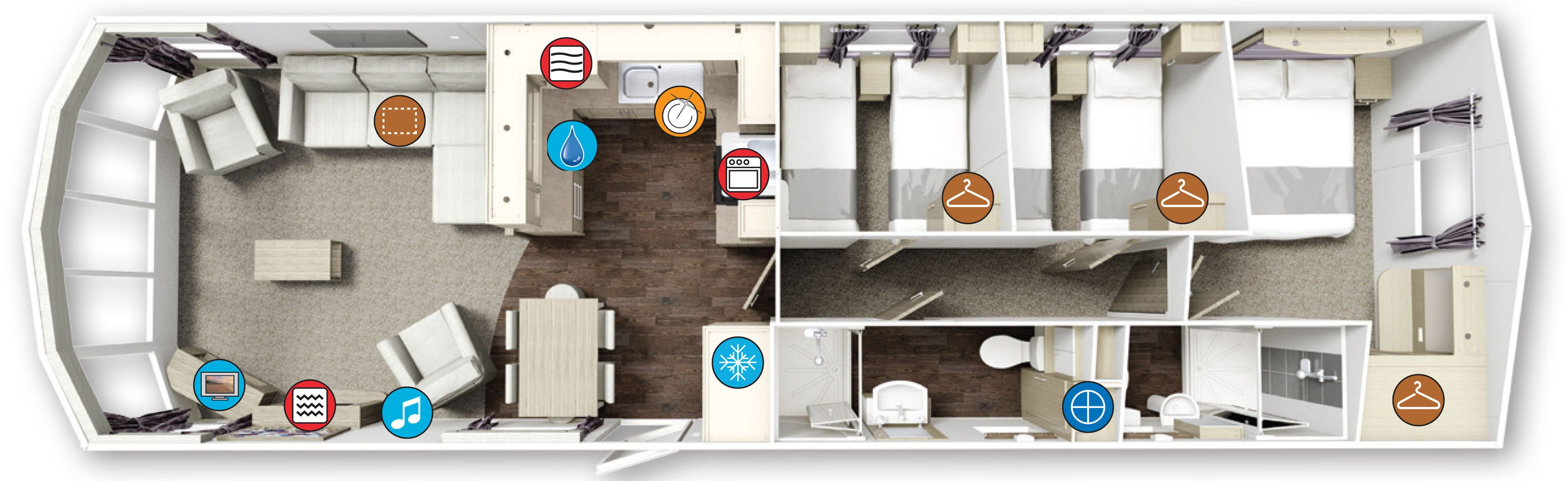 Willerby Aspen 2016 3 Bed Floor Plan Caravan Holiday Holiday Home Floor Plans