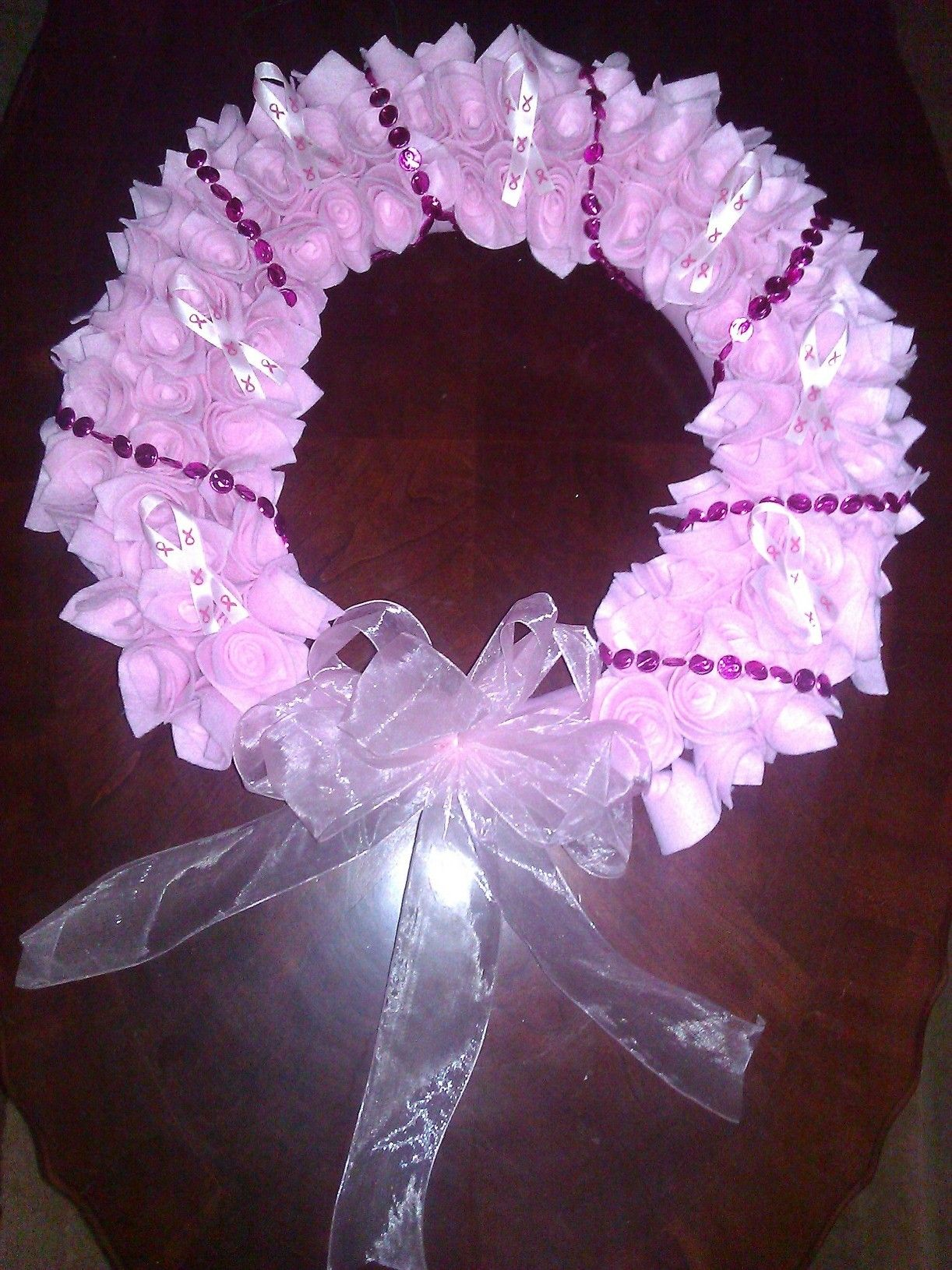 Breast Cancer Awareness Wreath  $60  Completelycustomcreations@yahoo.com