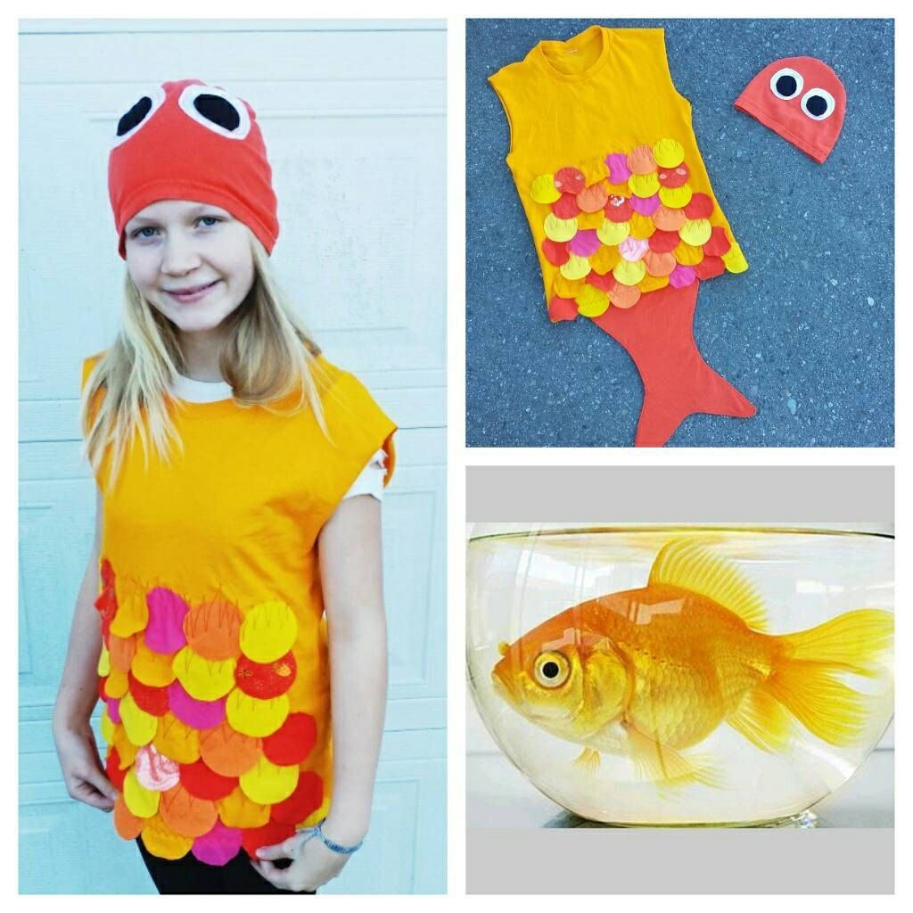 Upcycled steampunk clothing gold fish costume upcycled for Kids fish costume