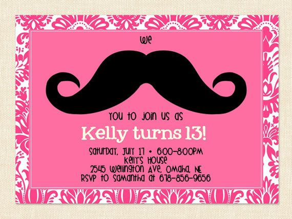 for kaylee/ teen girl mustache birthday invitation teen pink by, Birthday invitations