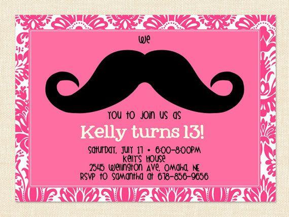 For kaylee teen girl mustache birthday invitation teen pink by printable birthday invitations for teenage girls stopboris Choice Image