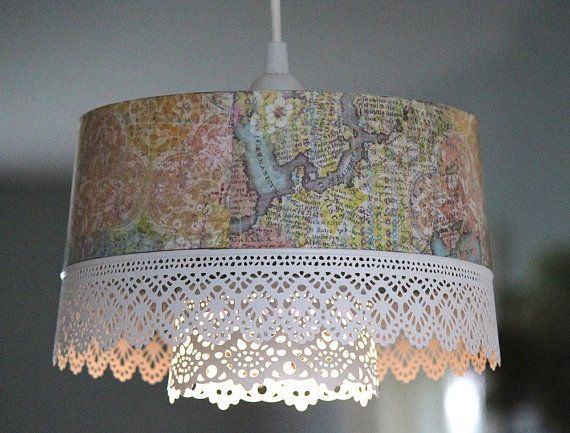 This pretty double lace hanging light is a combination of four co-ordinating patterns. The outside is a lovely old style map with subtle moroccan