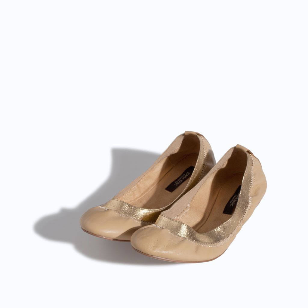 Image 1 of SOFT LEATHER BALLERINA FLATS from Zara