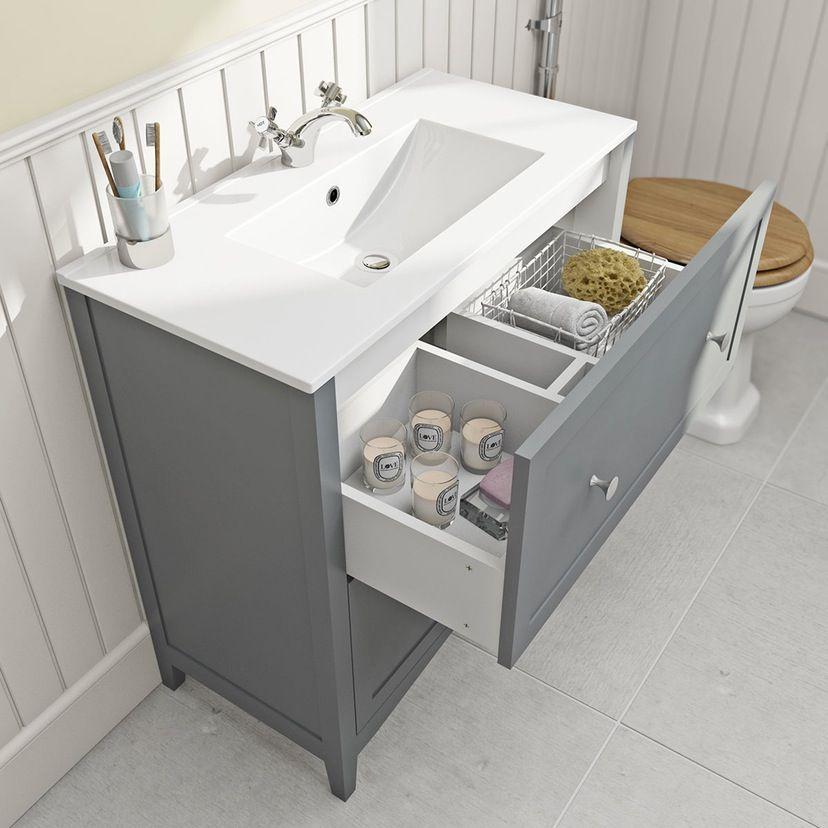 The Bath Co Camberley Satin Grey Floorstanding Vanity Unit And Ceramic Basin 800mm Bathroom Vanity Units Basin Vanity Unit Grey Vanity Unit