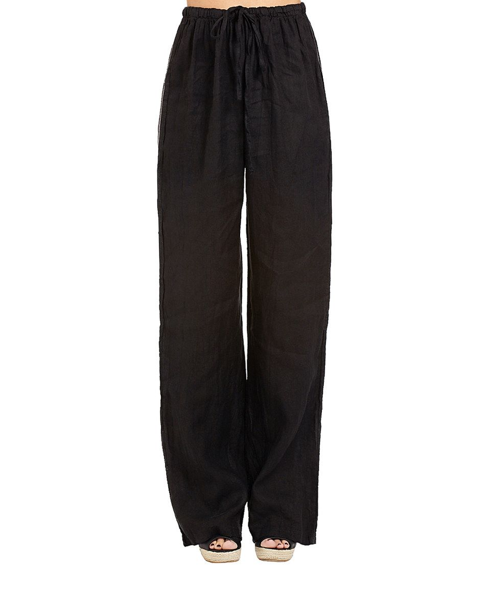 Couleur Lin Black Tie-Waist Linen Pants | Black tie