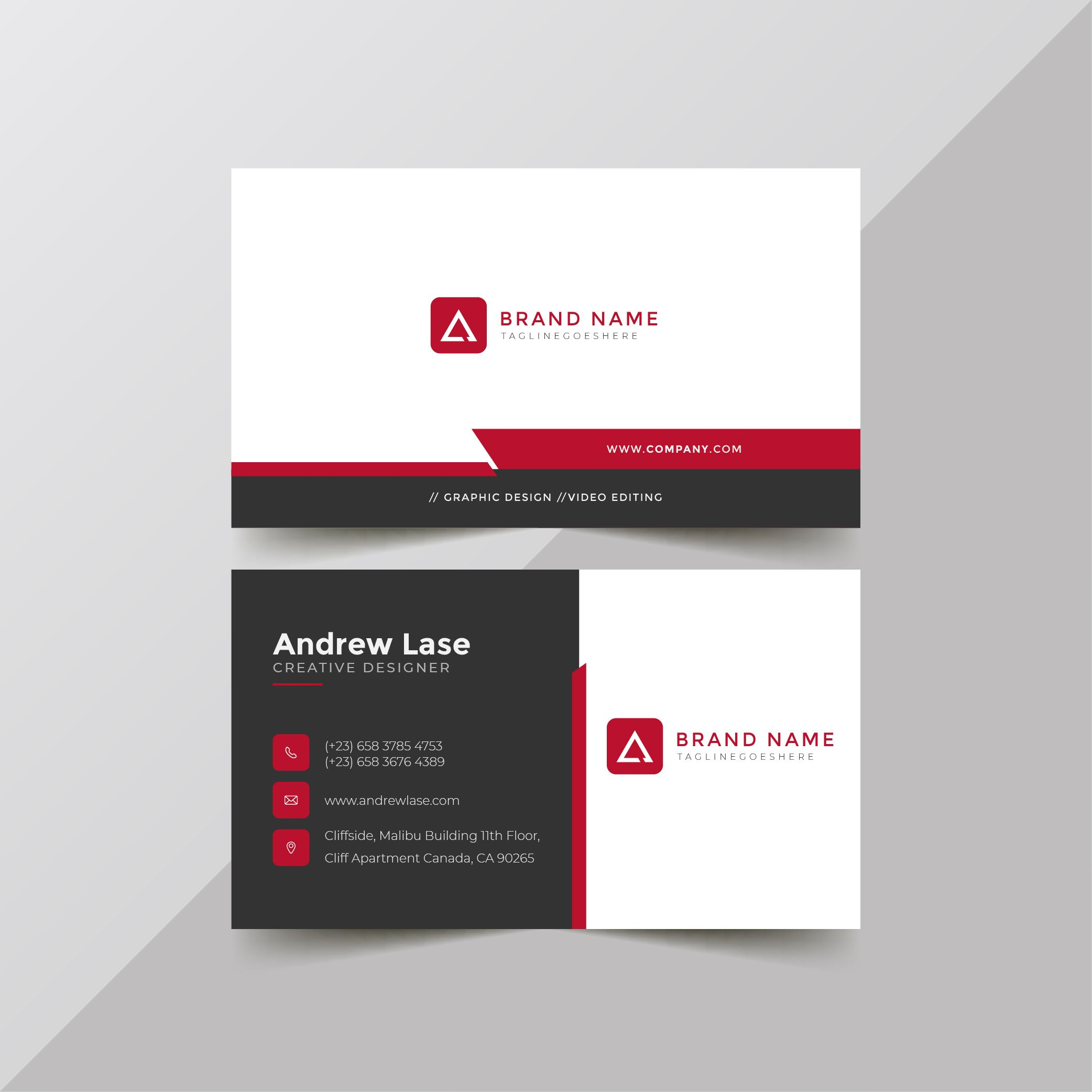 Simple Corporate Business Card Template In 2020 Business Card Template Corporate Business Card Card Template