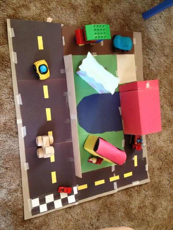 Home town made from cardboard boxes construction paper for Craft box for toddlers
