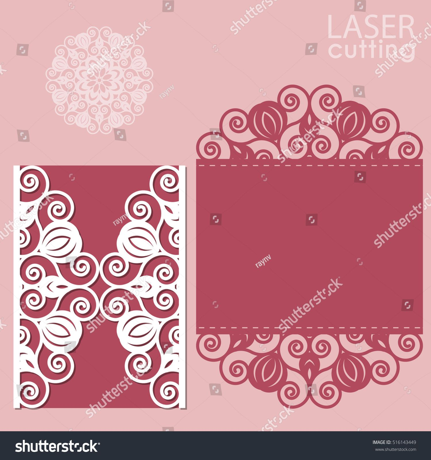 Laser cut wedding invitation card template vector. Die cut paper ...