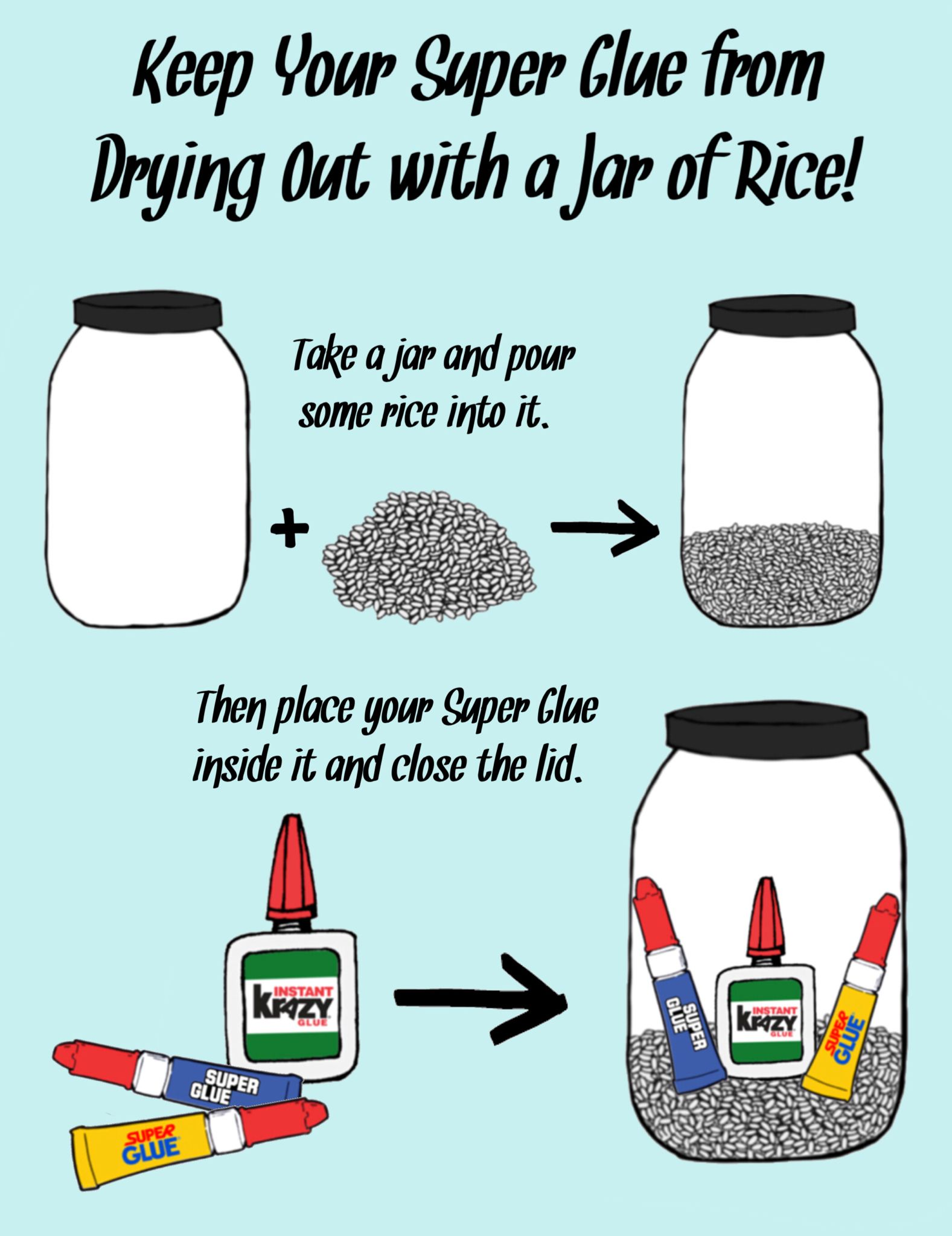 Keep Your Super Glue From Drying Out With A Jar Of Rice Super Glue Supplies Diy Craft Supplies
