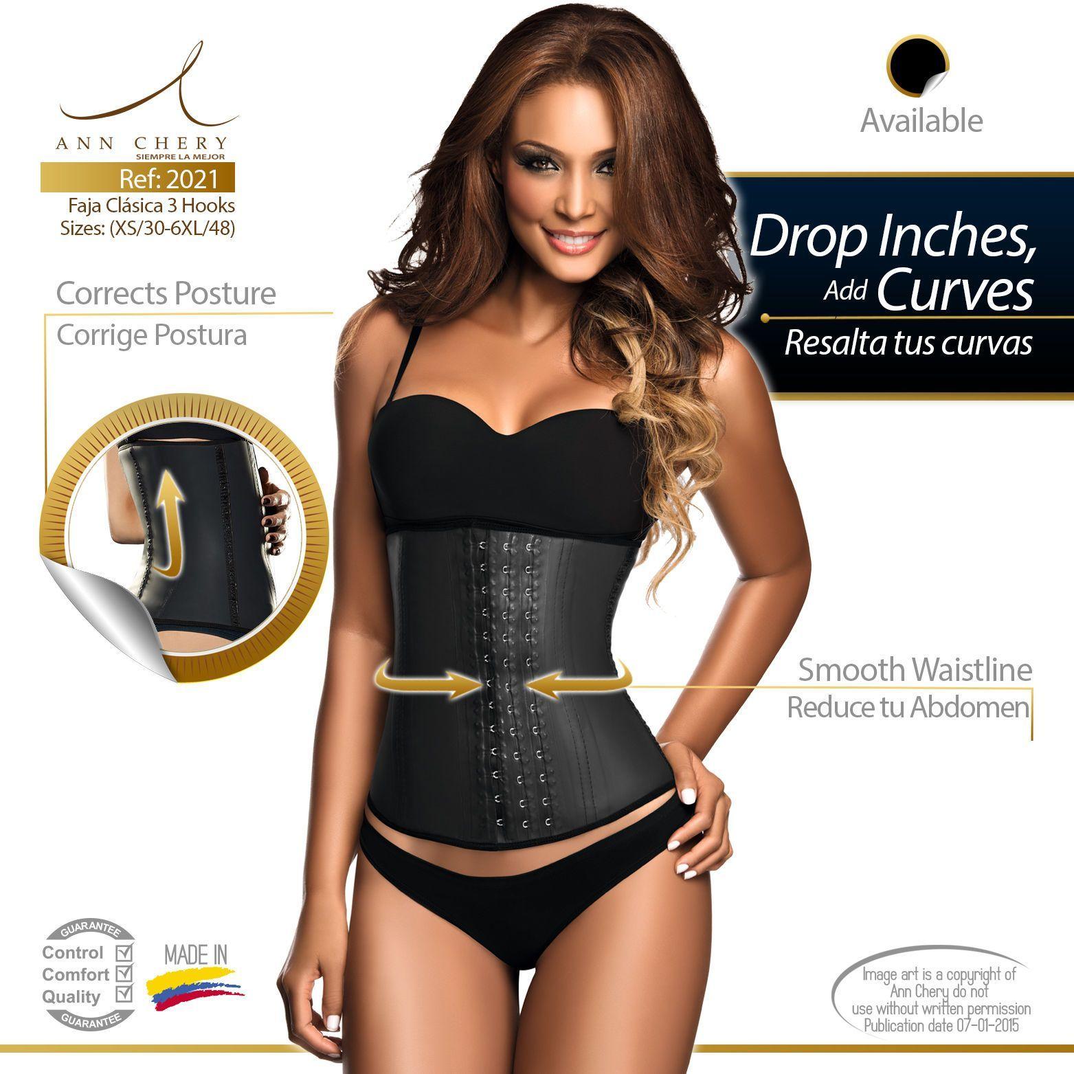 ac4caa5ff Ann Chery 2021 3 Hooks Black Latex Colombian Girdle Waist Cincher Faja  Colombian