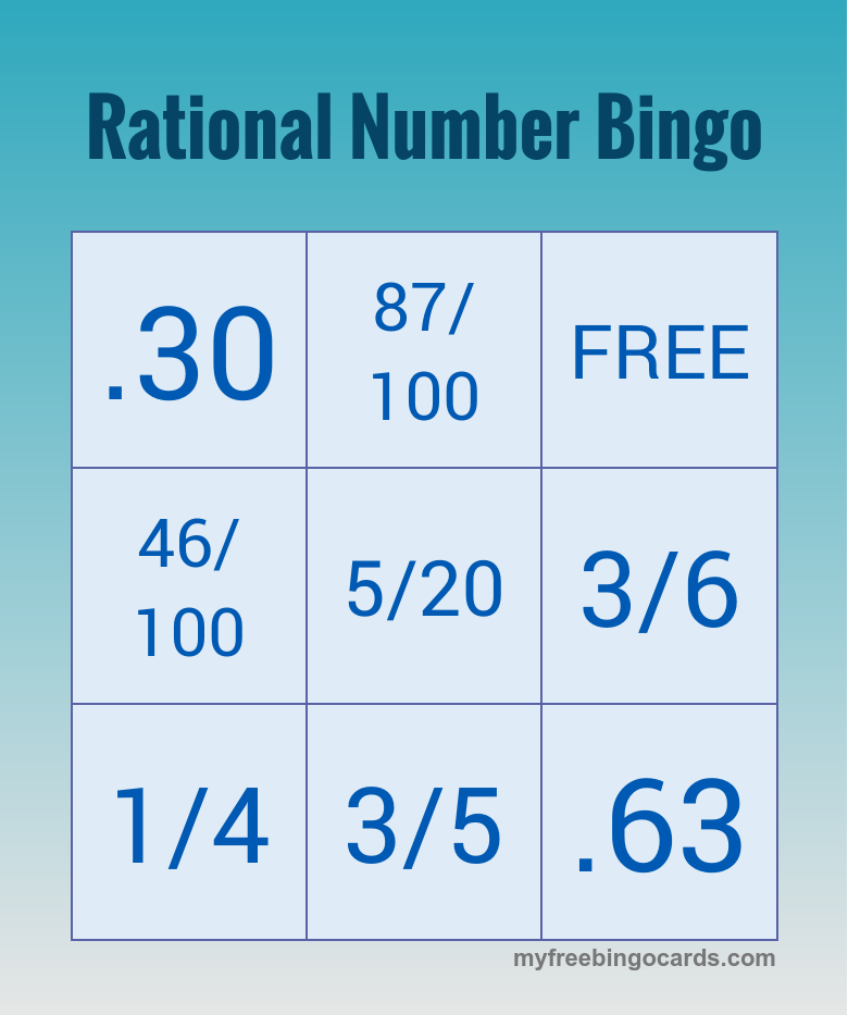 Free Printable Bingo Cards | Pinterest | Rational numbers and Math