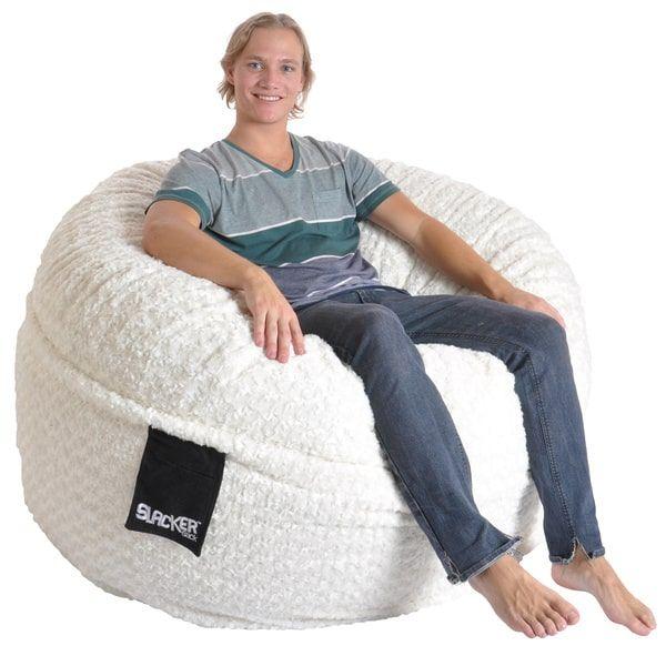Slacker Sack 5 foot Round Large Soft White Fur Memory Foam Bean Bag Chair - Slacker Sack 5 Foot Round Large Soft White Fur Memory Foam Bean