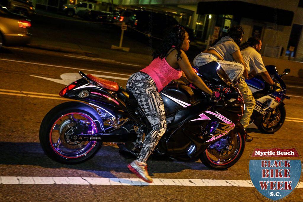 Black motorcycle week. Girl on Busa!