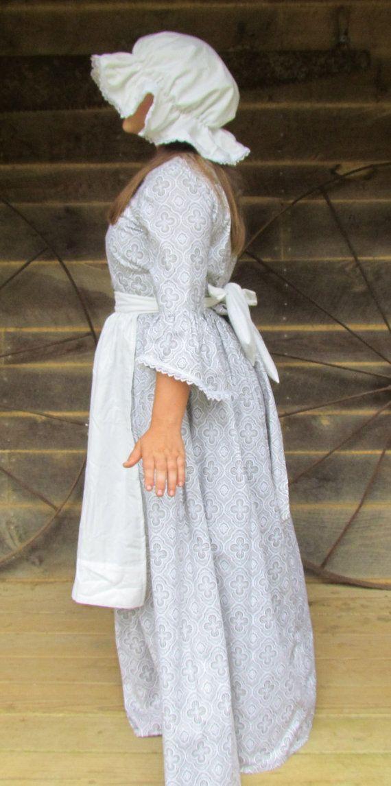 v tements d poque historique costume am ricain colonial robe de fille gris jour robe enfant. Black Bedroom Furniture Sets. Home Design Ideas