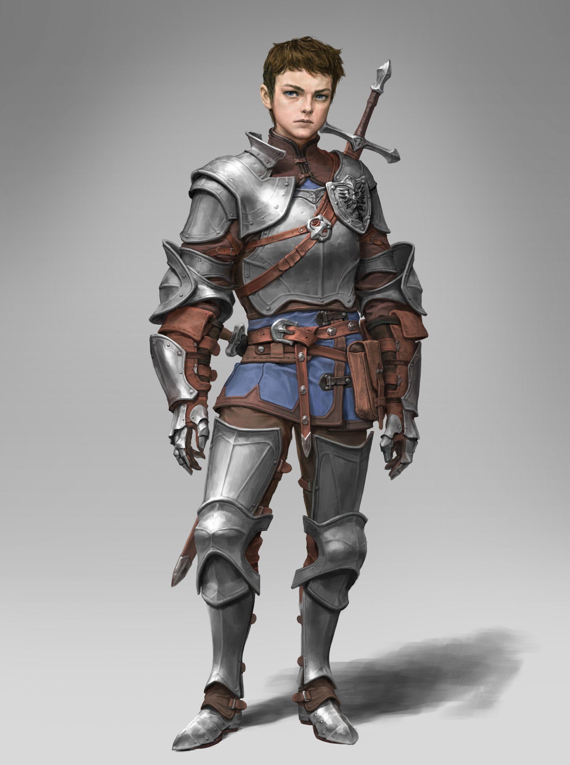 m Paladin Plate Armor 2 Handed Sword Dagger lwlvl traveler young knight, ArtStation hyunjoong ...