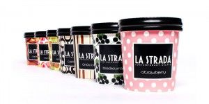 la strada ice cream packaging. I love how there are many choices of colour. This design is simple but very effective!!!