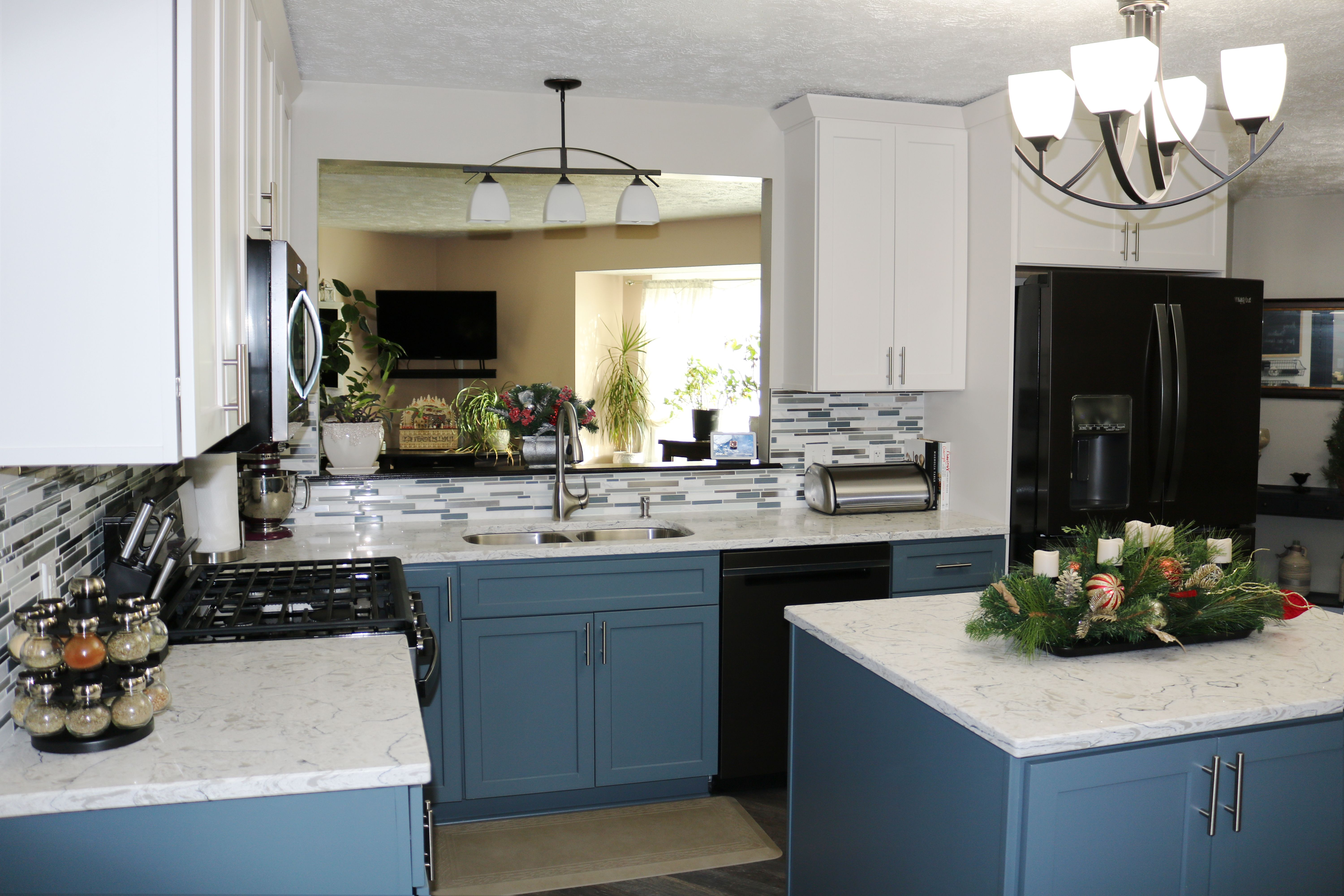 we love how this kitchen turned out the blue cabinetry makes such a elegant statement and the on kitchen cabinets vertical lines id=80974