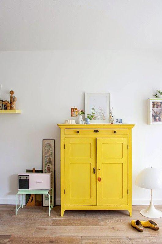 deco jaune interieur meuble commode
