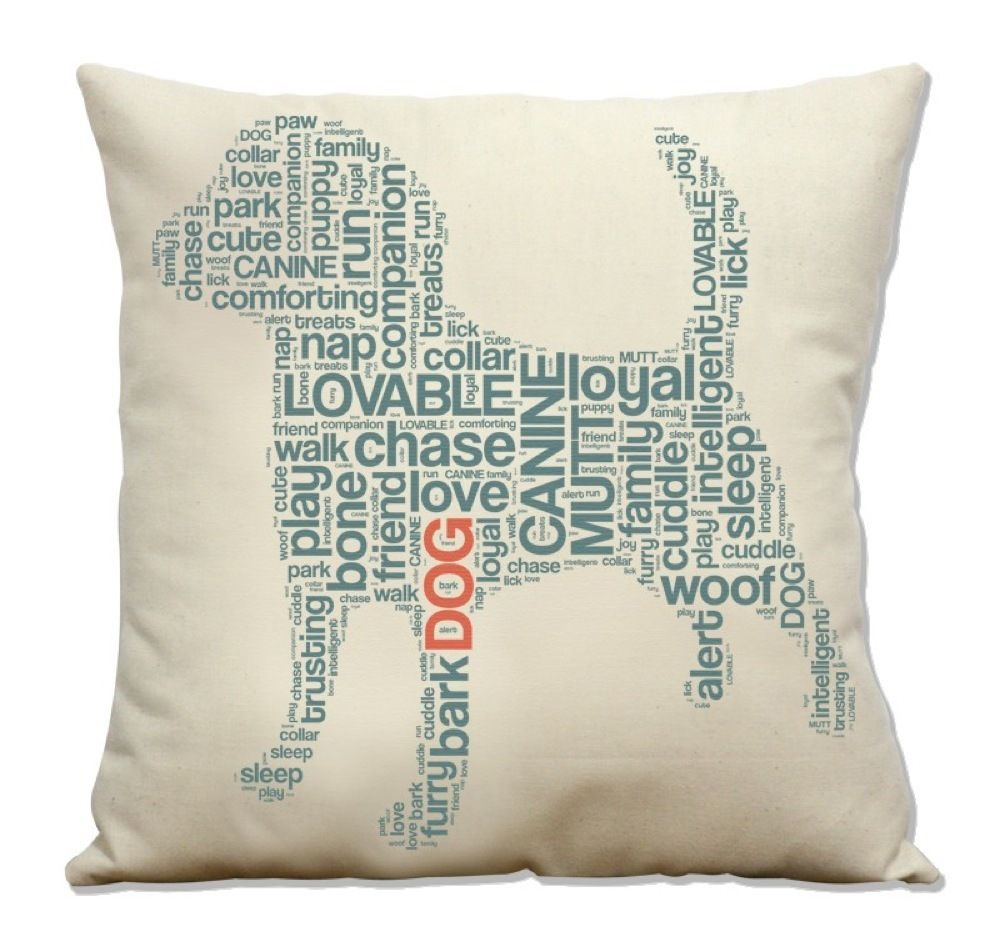 Typography Dog Throw Pillow | Conspicuous Dog | Doggy Decor ...