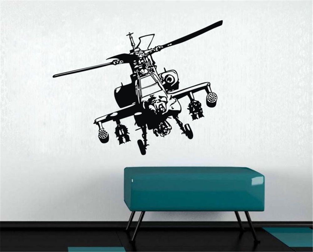 Military Bedroom Decor Military Art Wall Decal Helicopter Fighter Kids Bedroom Decor
