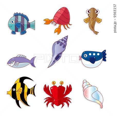かに 魚類 魚のイラスト Cartoon Fish Ocean Animals Cartoon