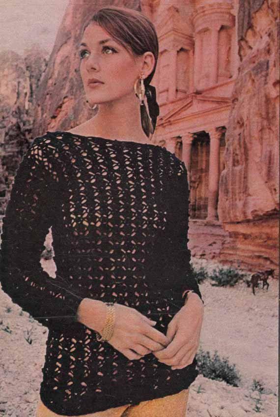 1960s Vintage Crochet Pdf Pattern- BLACK LACE SWEATER with boatneck ...