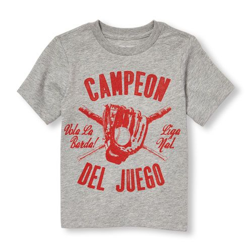 e27920edc42 s Toddler Boys Short Sleeve  Campeon Del Juego  Baseball Graphic Tee - Gray  T-Shirt - The Children s Place