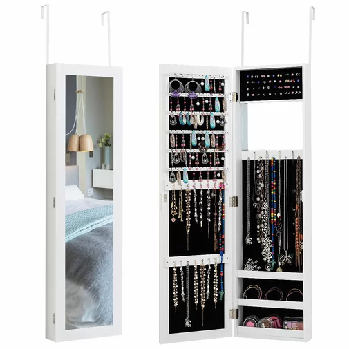 Maura Storage Organizer Over The Door Wall Mounted Jewelry Armoire With Mirror Muebles Con Espejo Muebles Maura