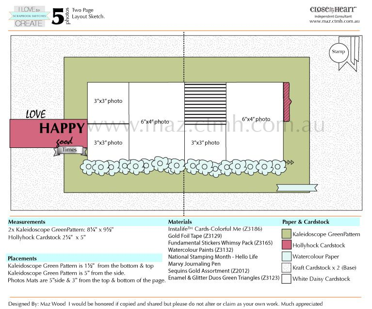Five Photo CTMH National Stamping Month: Scrapbooking sketch Layout  www.maz.ctmh.com.au