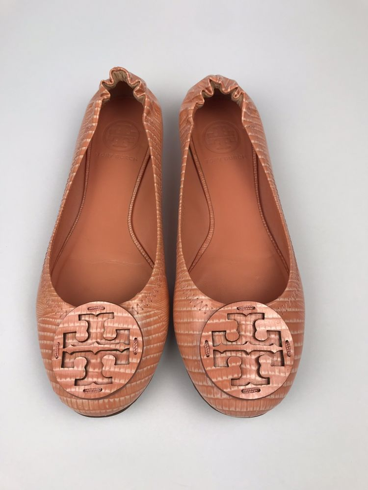 57e8326d308ddb Tory Burch Reva Ballet Flats Tonal Logo Patent Leather Orange Womens Size  6.5 M  fashion  clothing  shoes  accessories  womensshoes  flats (ebay link)
