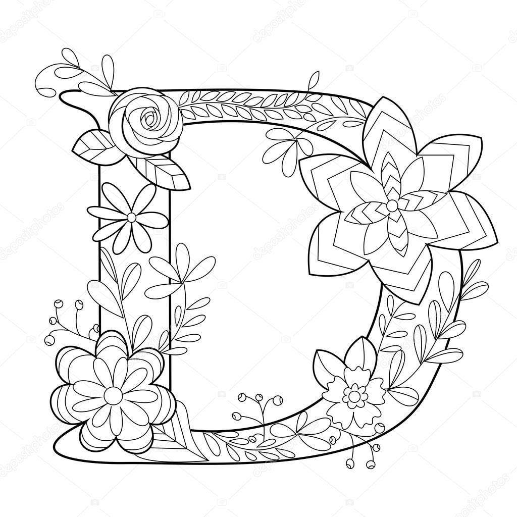 Descargar - Libro de colorear de la letra D para vectores adultos ...