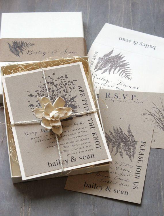 Boxed Wedding Invitations, Enchanted Woodland Wedding, Rustic Elegant  U201cRustic Fernu201d Box Invite Deposit   NEW LOWER PRICE