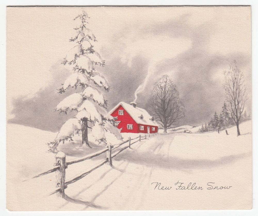 Vintage Greeting Card Christmas Red House Chimney Smoke Snowy Winter ...