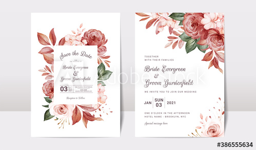 Floral Wedding Invitation Template Set With Gold Burgundy And Brown Roses Flowers And Leaves Decoration Botanic Card Design Concept Buy This Stock Vector And