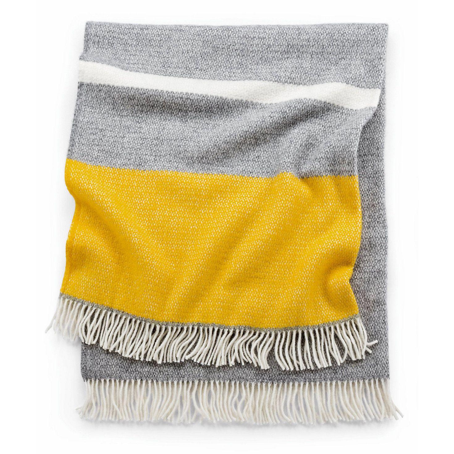Decke Illusion Gelb Grau Farbstreifen Deckchen Und Webmuster