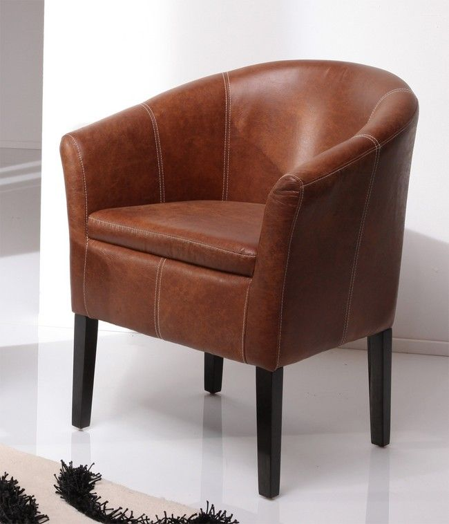 Brown Leather Tub Chair For Living Room Living Room