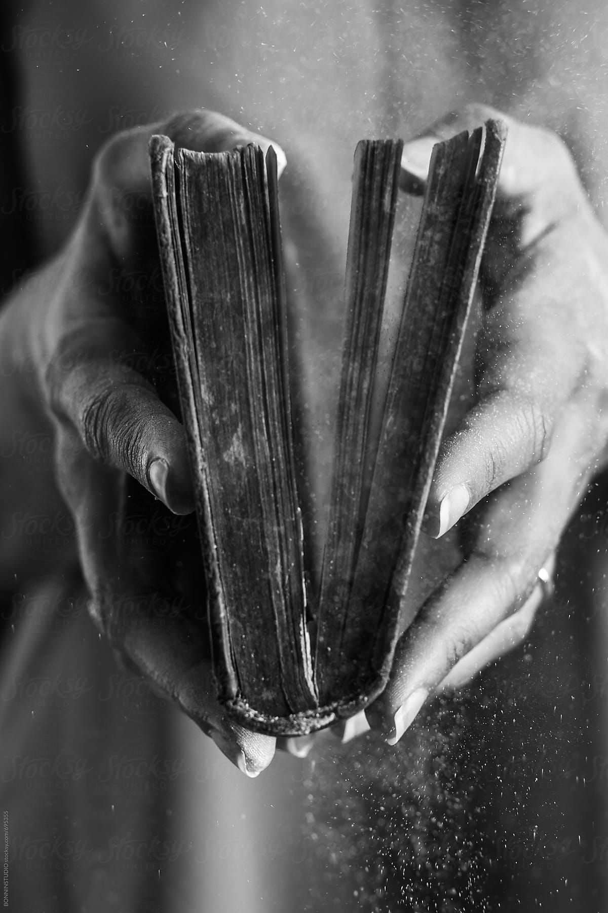 Hands Of A Woman Opened A Dusty Old Book By Bonninstudio For Stocksy United Black And White Books Black Aesthetic Black And White Aesthetic