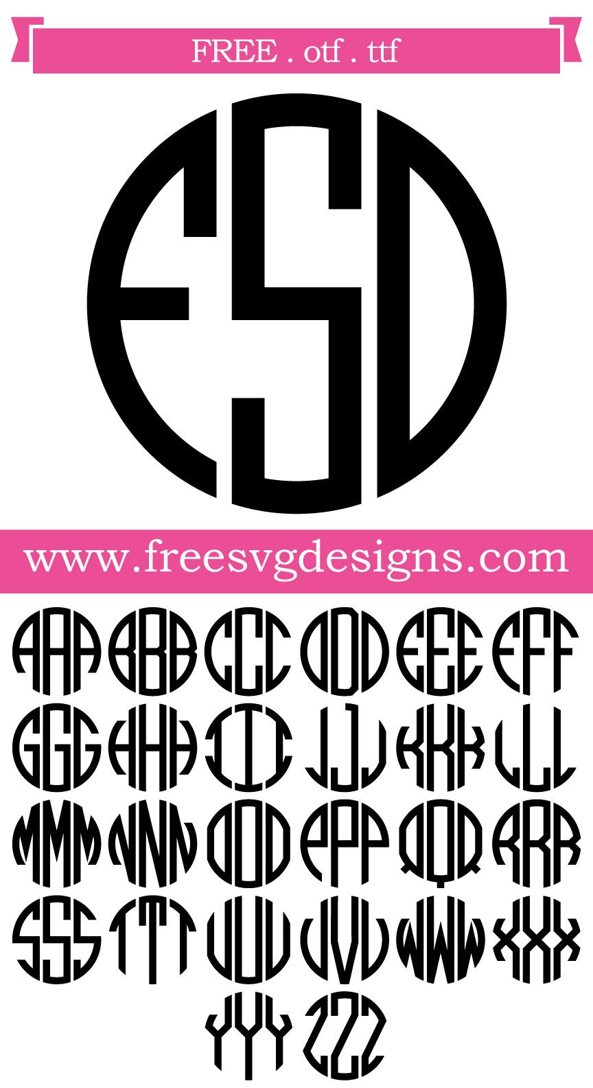 Download Free Font - Round Monogram Font with Banner. This FREE ...