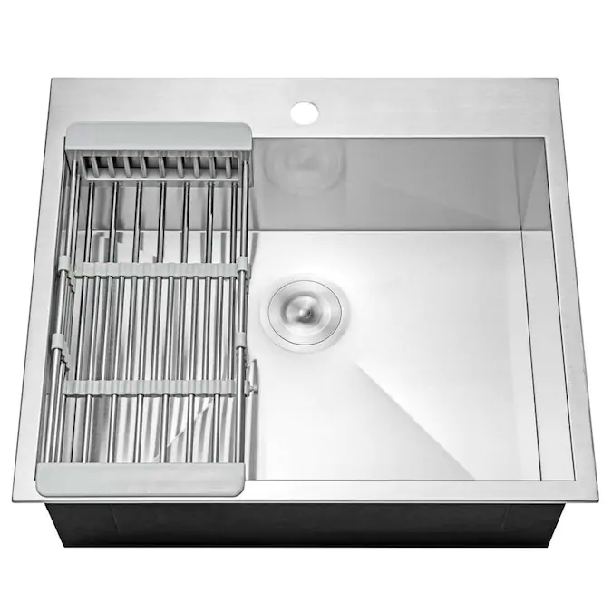 Akdy Handmade Drop In 25 In X 22 In Stainless Steel Single Bowl 1 Hole Kitchen Sink All In One Kit Lowes Com In 2021 Sink Stainless Steel Texture Kitchen Sink 25 x 22 stainless steel sink