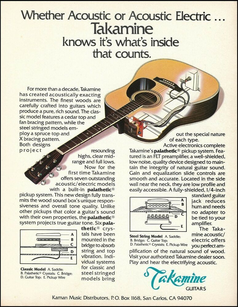 Takamine Palathetic Pickup System Acoustic Electric Guitar X Ray 1982 Ad Print Takamine Acoustic Electric Guitar Acoustic Electric Guitar