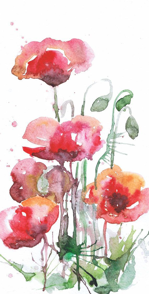 Red Poppies Wall Art Botanical Set Of 3 Prints Abstract Floral