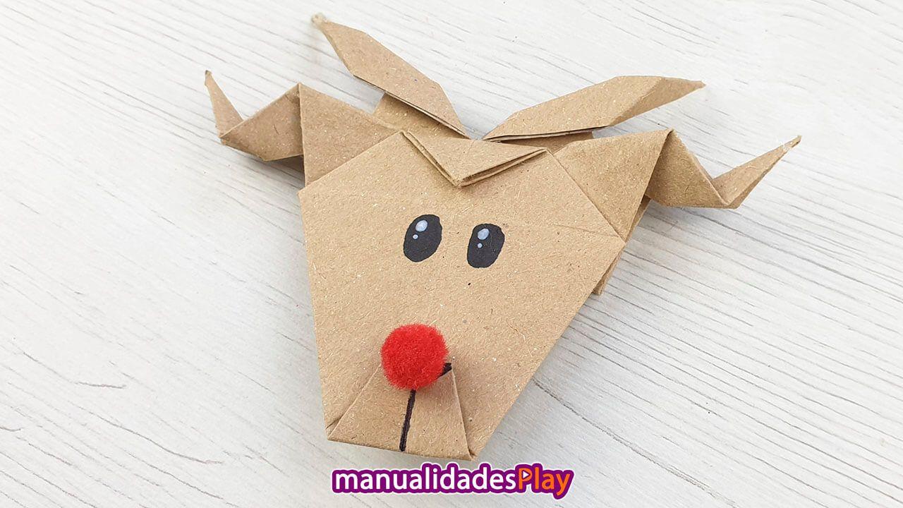 Reno Navideno De Origami Manualidades Paso A Paso Manualidades Origami Facil Renos Navidenos