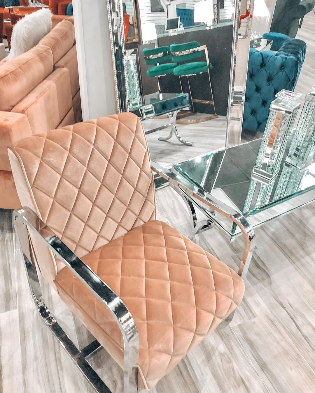 """Coco Furniture Gallery on Instagram: """"Shop our stunning Velvet/Chrome Accent Chair for just $345 💕 -  #realtor #realestatemiami #love #midtownmiami #interiordesign #southflorida…"""""""