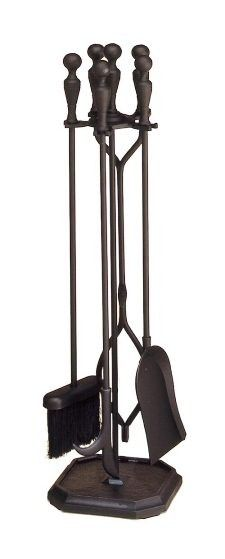 "Black 4 - Fireplace Tool set. Black; 29.5""h Tools are sturdy and properly balanced; to insure durability we use heavy solid brass or steel in our rods."
