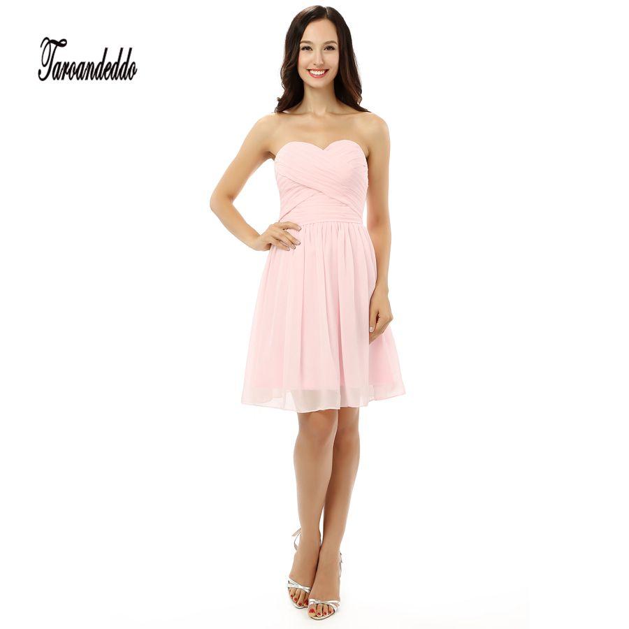 Hand ruched pink chiffon short bridesmaid dresses mini length formal