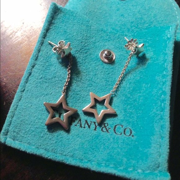 01001ea15 Auth-Tiffany and Co silver star drop earrings. Auth-Tiffany and Co 925 sterling  silver star drop earrings with butterfly backs. Honestly I think I wore  them ...