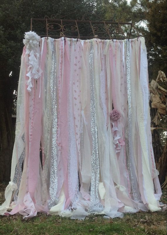 Shabby Chic Curtains Vintage Rachel Ashwell Fabric Ribbon And Sequin Backdrop Pink White And
