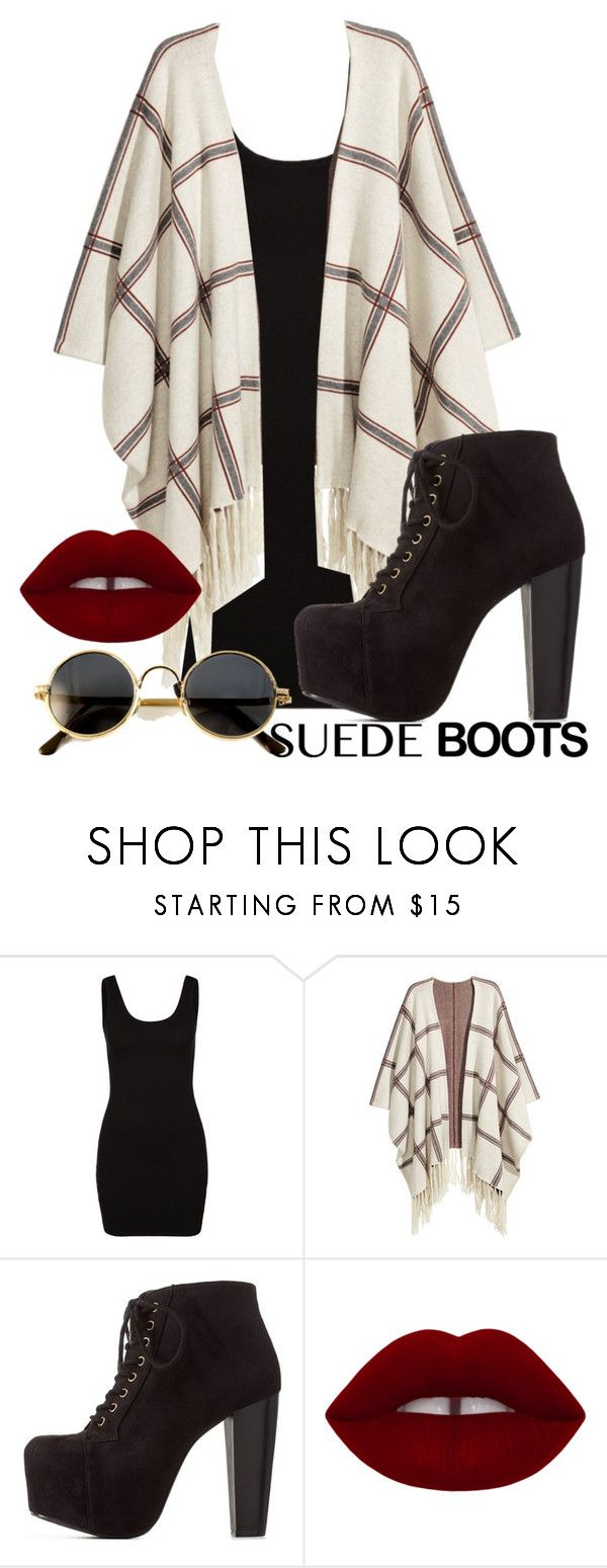 """""""Sem título #492"""" by may-calista ❤ liked on Polyvore featuring Zalando, H&M, Charlotte Russe, outfit and suedeboots"""